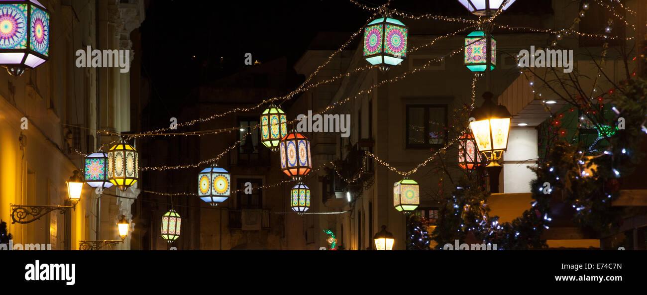 Luci artistiche Natalizie di Salerno Stock Photo
