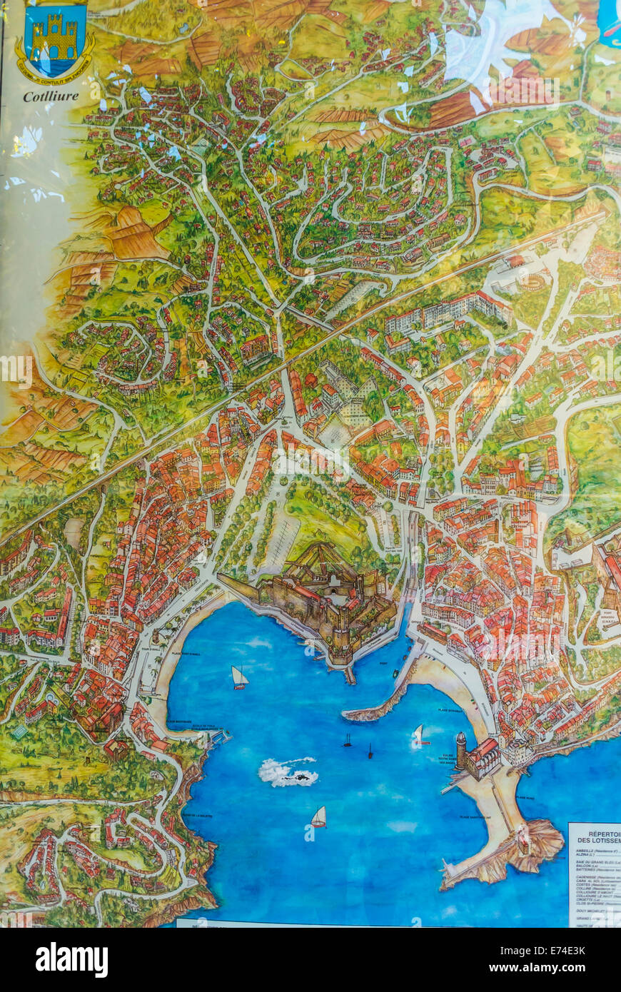 Collioure, France, Old French Map of Seaside Village near Perpignan ...