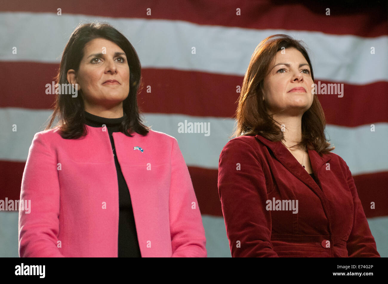 South Carolina governor Nikki Haley and Senator Kelly Ayotte of New Hampshire holds a campaign rally with Mitt Romney - Stock Image