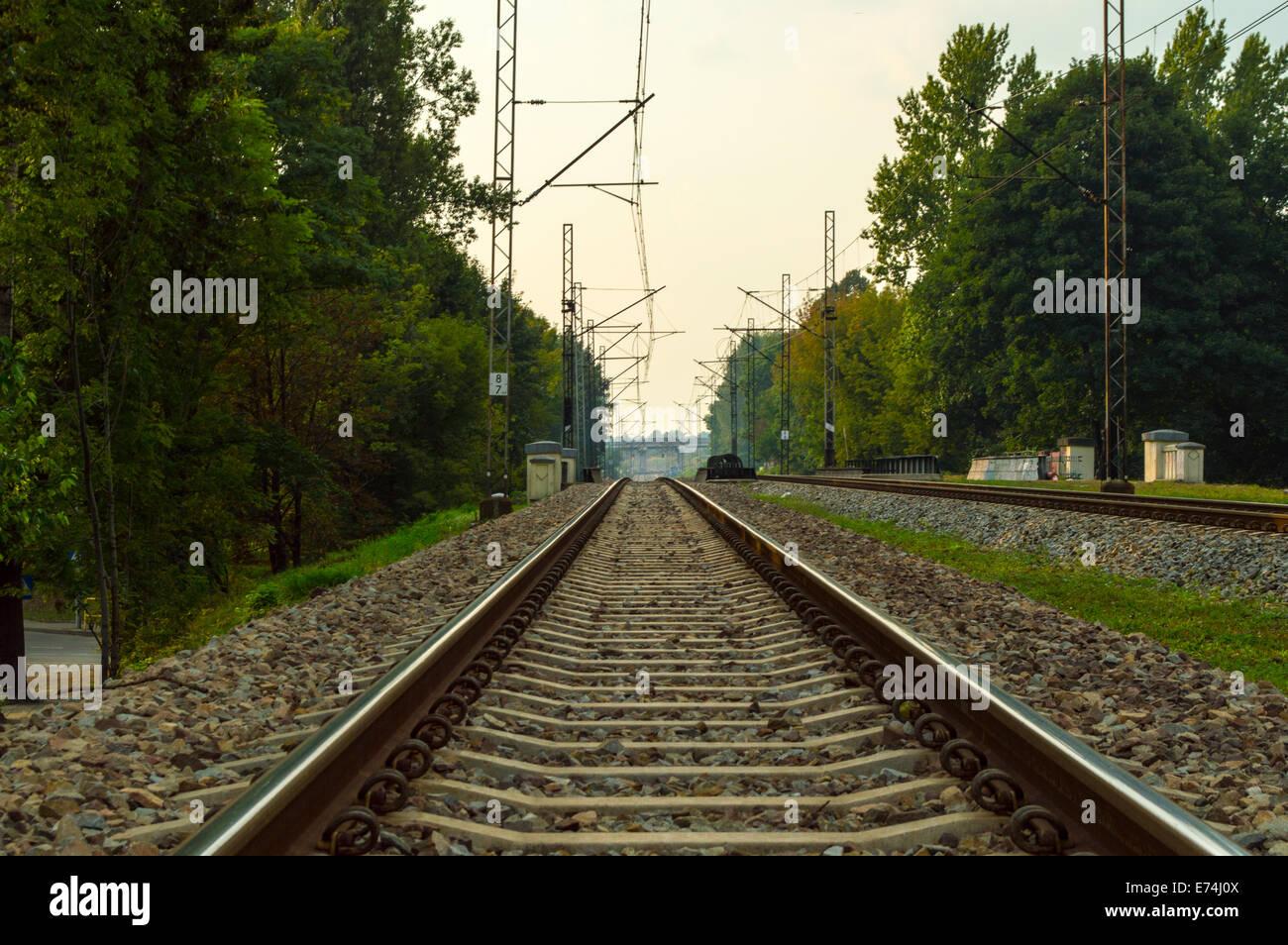railroad tracks transportation poland silesia stock photo