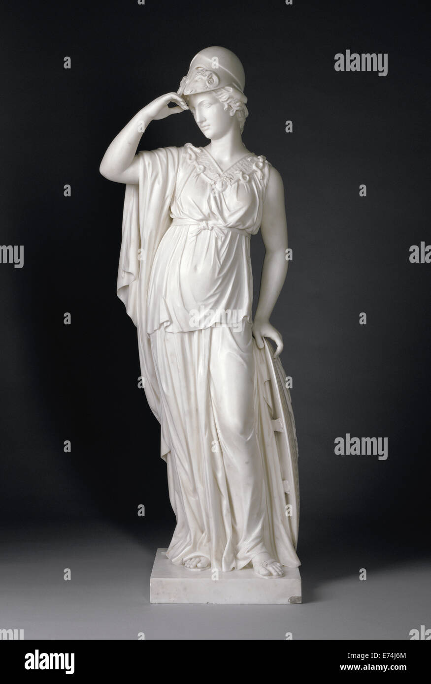 Minerva; Joseph Nollekens, English, 1737 - 1823; England, Europe; 1775; Marble; Object: H:  144 cm (H:  56 11/16 - Stock Image