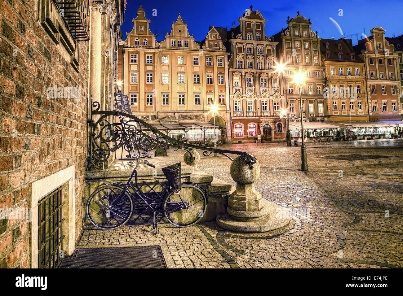 Wroclaw Old Town in the evening. - Stock Image