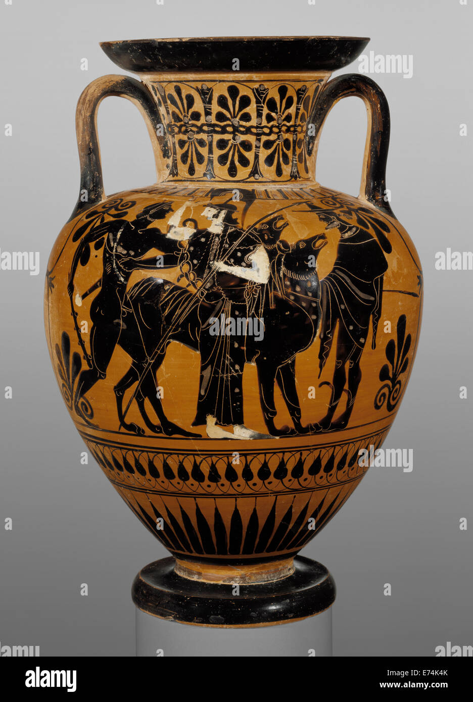 Attic Black-Figure Neck Amphora; Attributed to Leagros Group Greek (Attic) active 525 - 500 B.C.; Athens Greece & Attic Black-Figure Neck Amphora; Attributed to Leagros Group Greek ...