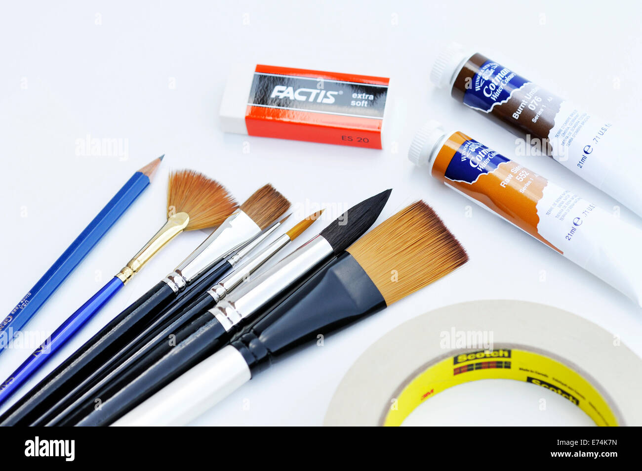Watercolor supplies - Stock Image