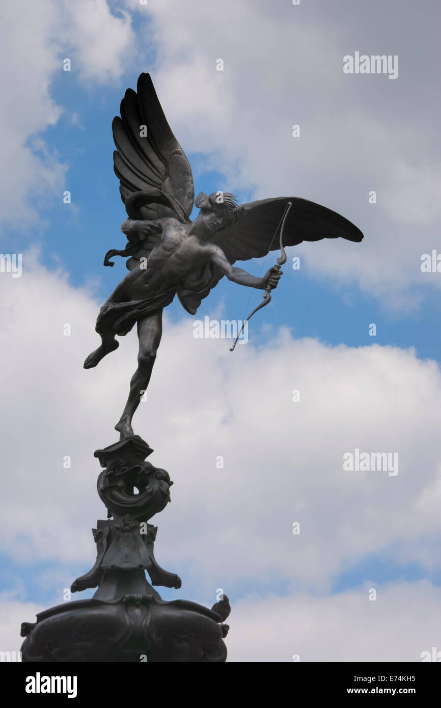 A closeup of the statue of Eros in Piccadilly Circus in the West End of London - Stock Image
