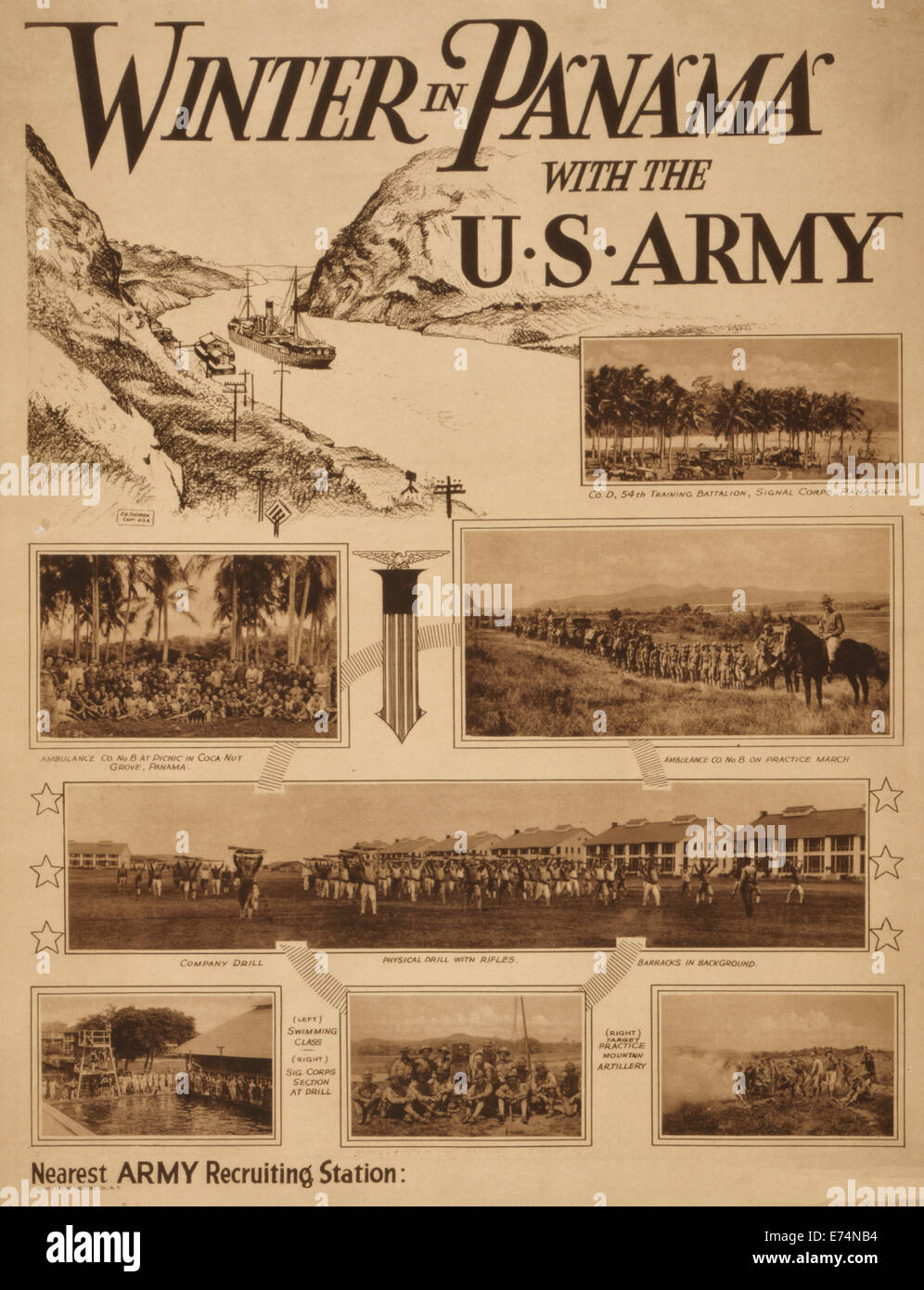 Winter in Panama with the U.S. Army - Summary: U.S. Army recruiting poster with drawing by E.H. Sleeper, Capt. U.S.A., - Stock Image