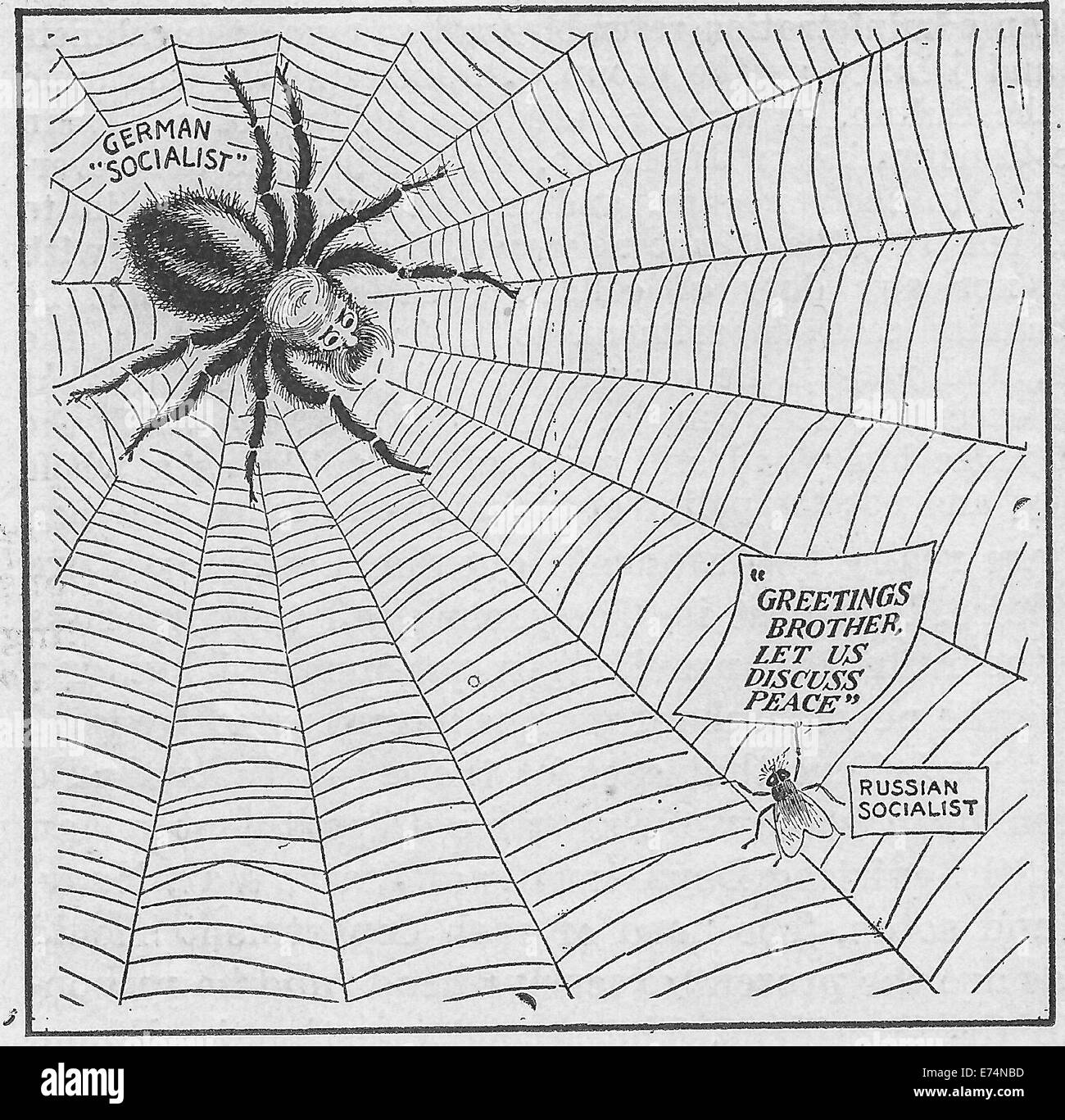 World war i political cartoon showing german socialists as a spider world war i political cartoon showing german socialists as a spider and russian socialists as a fly the fly is saying greetings brother let us discuss m4hsunfo