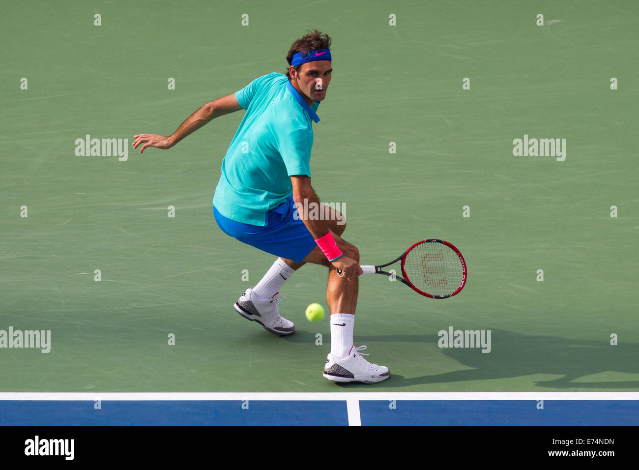 New York, US. 6th Sep, 2014. Roger Federer (SUI) was defeated by Marin Cilic (CRO) in the Men's Semi-Final. - Stock Image