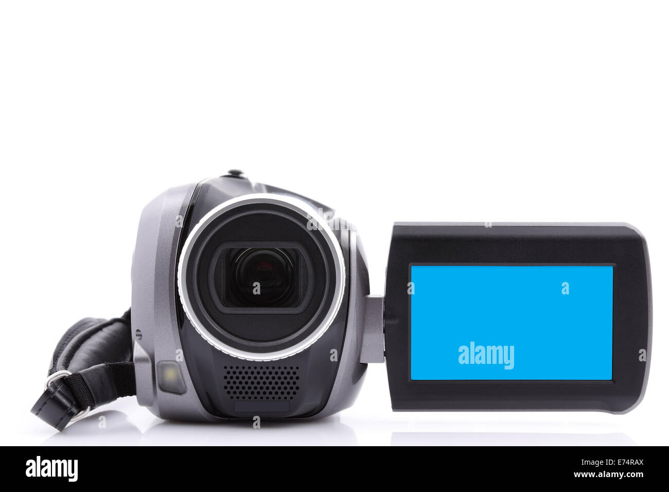 Digital video camera with empty display - over white background - Stock Image