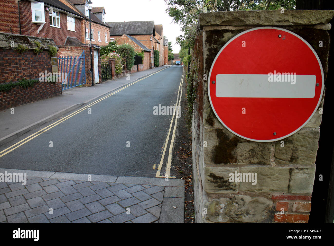 No entry sign and one-way street - Stock Image