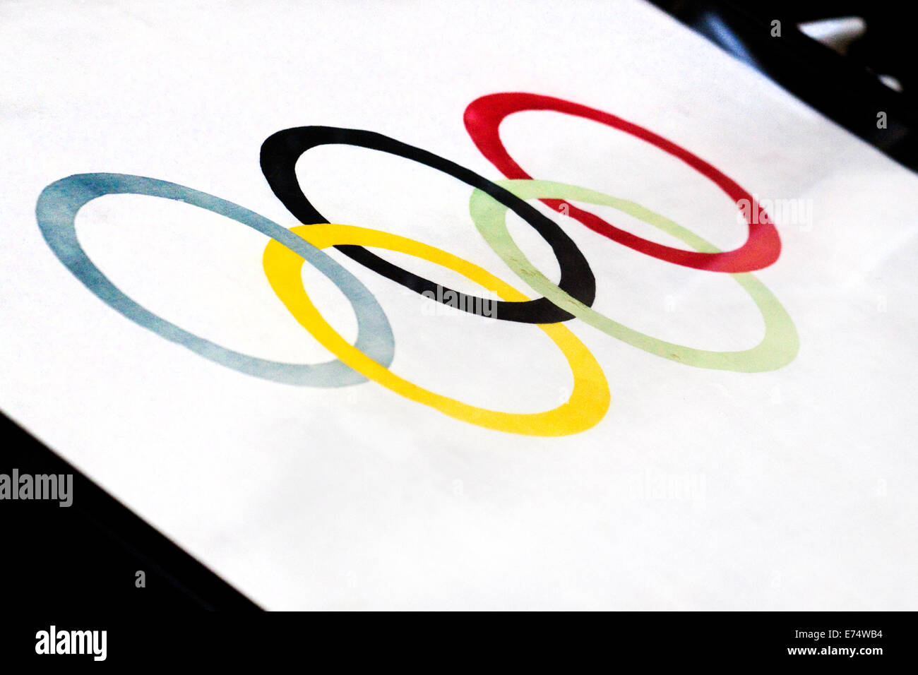 The only surviving example of the very first Olympic flag from 1920, on display inside Antwerp City Hall, Belgium. - Stock Image