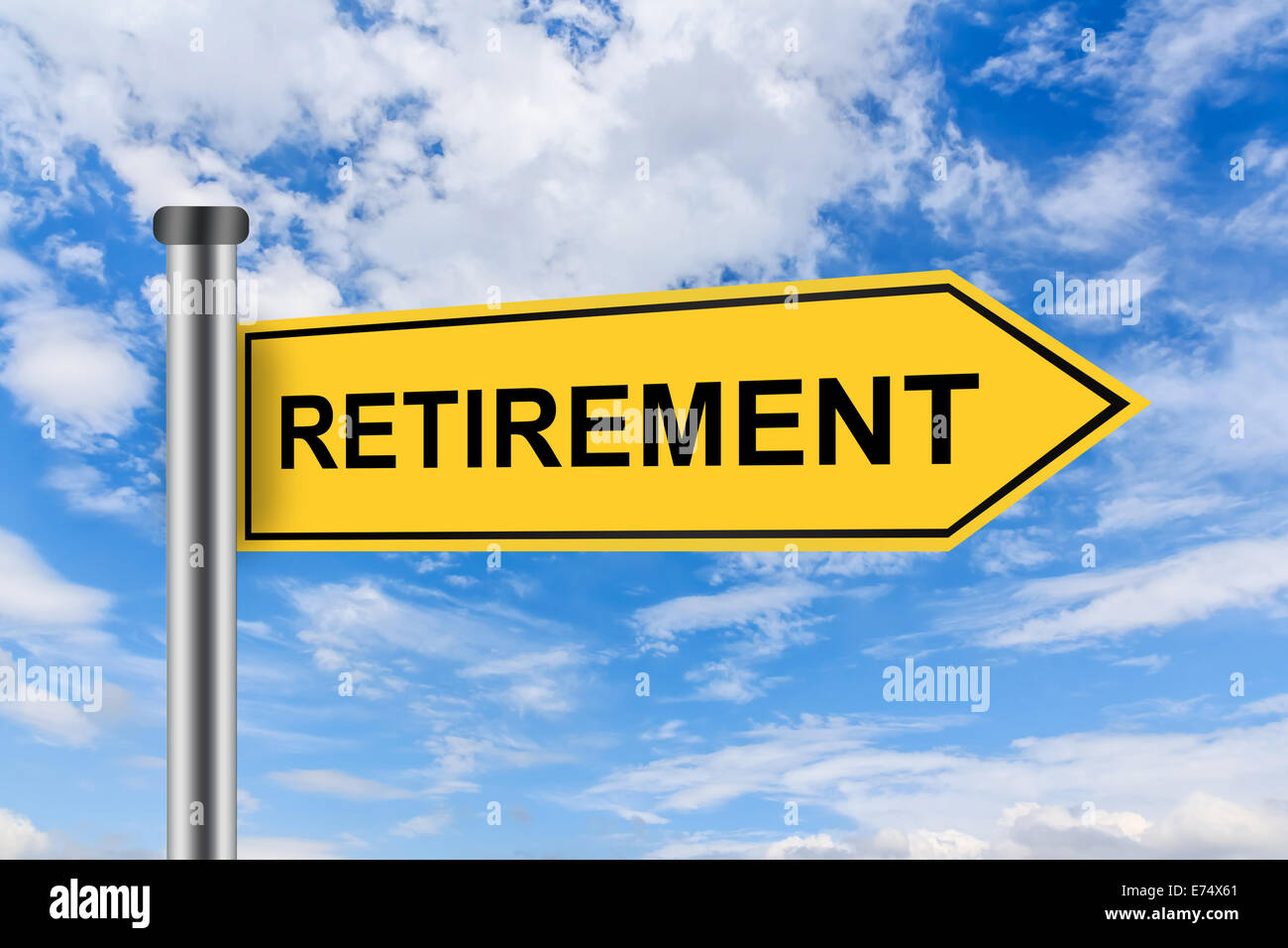 retirement words on yellow road sign on blue sky stock photo
