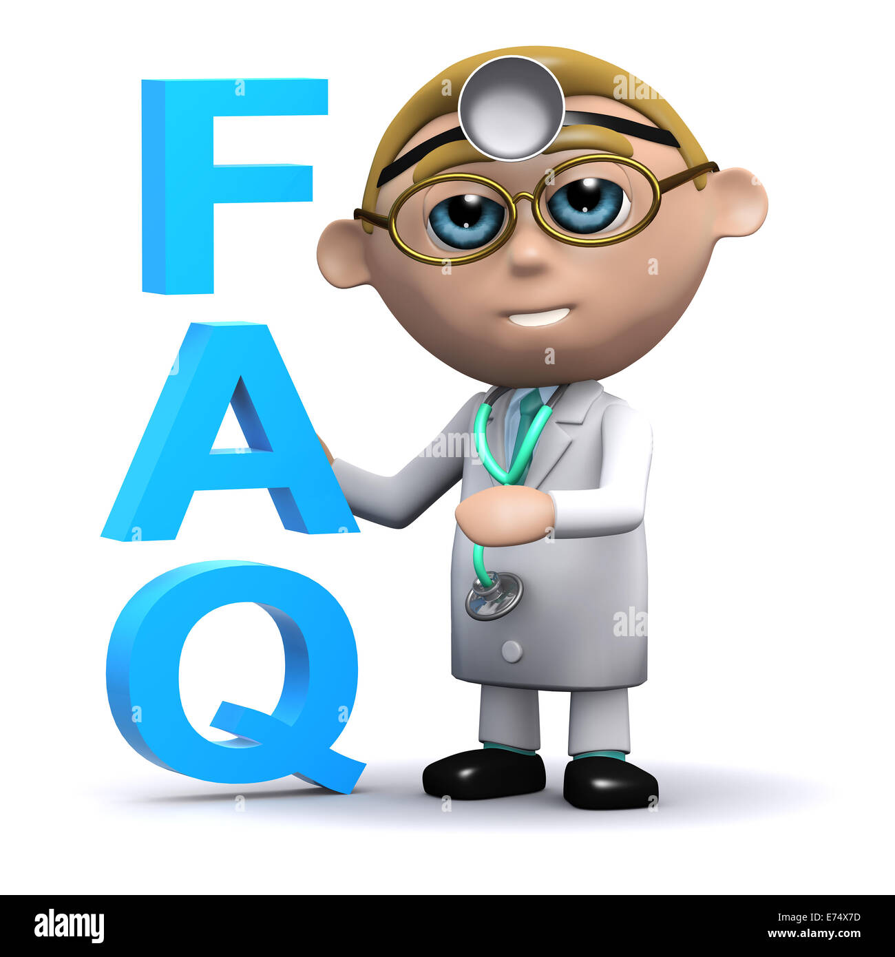 3d render of a doctor next to the acronym FAQ - Stock Image