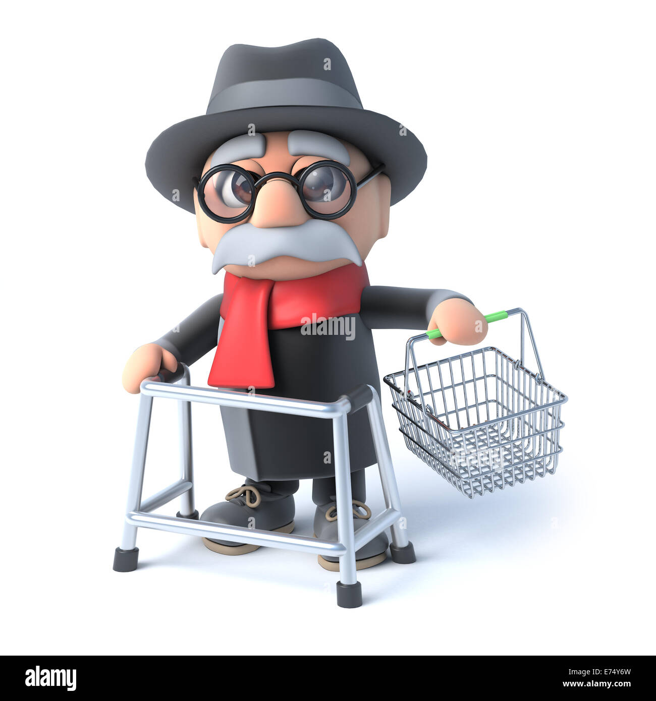 3d render of an old man with walking frame holding up an empty Stock ...