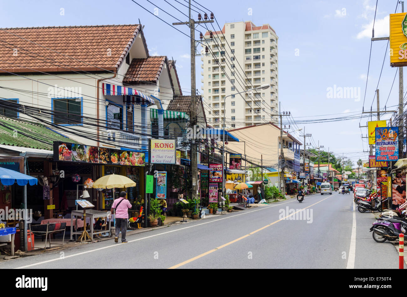 Restaurant lined Patak Rd in Karon Beach, Phuket Island, Thailand - Stock Image