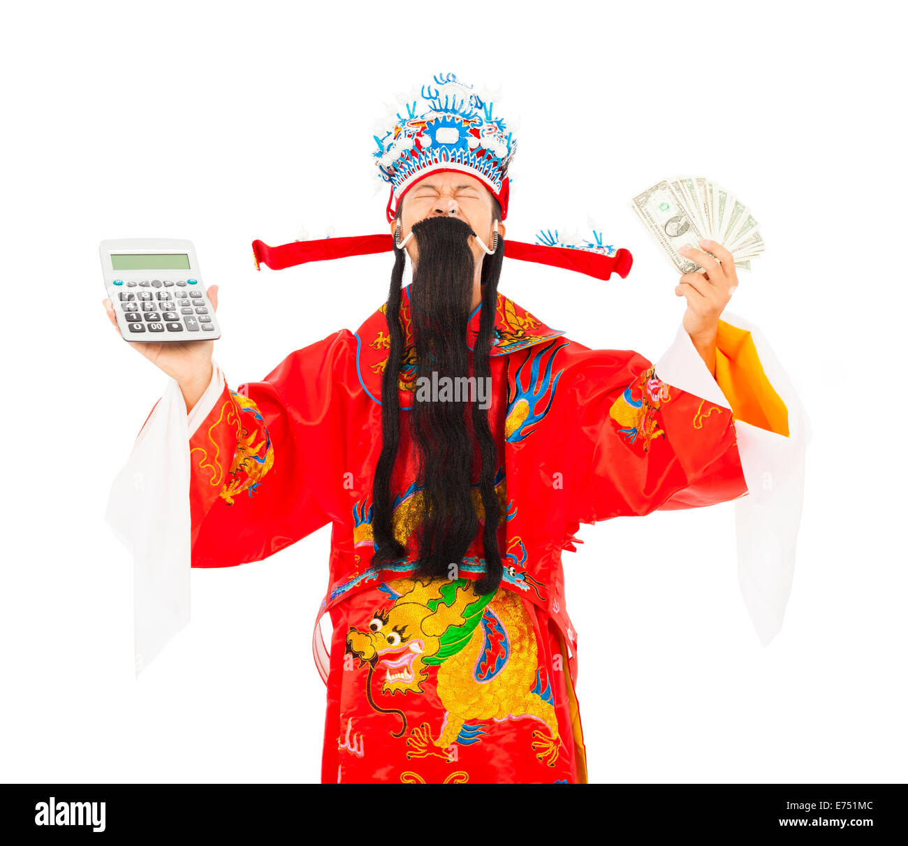 God of wealth holding a compute machine and money Stock Photo