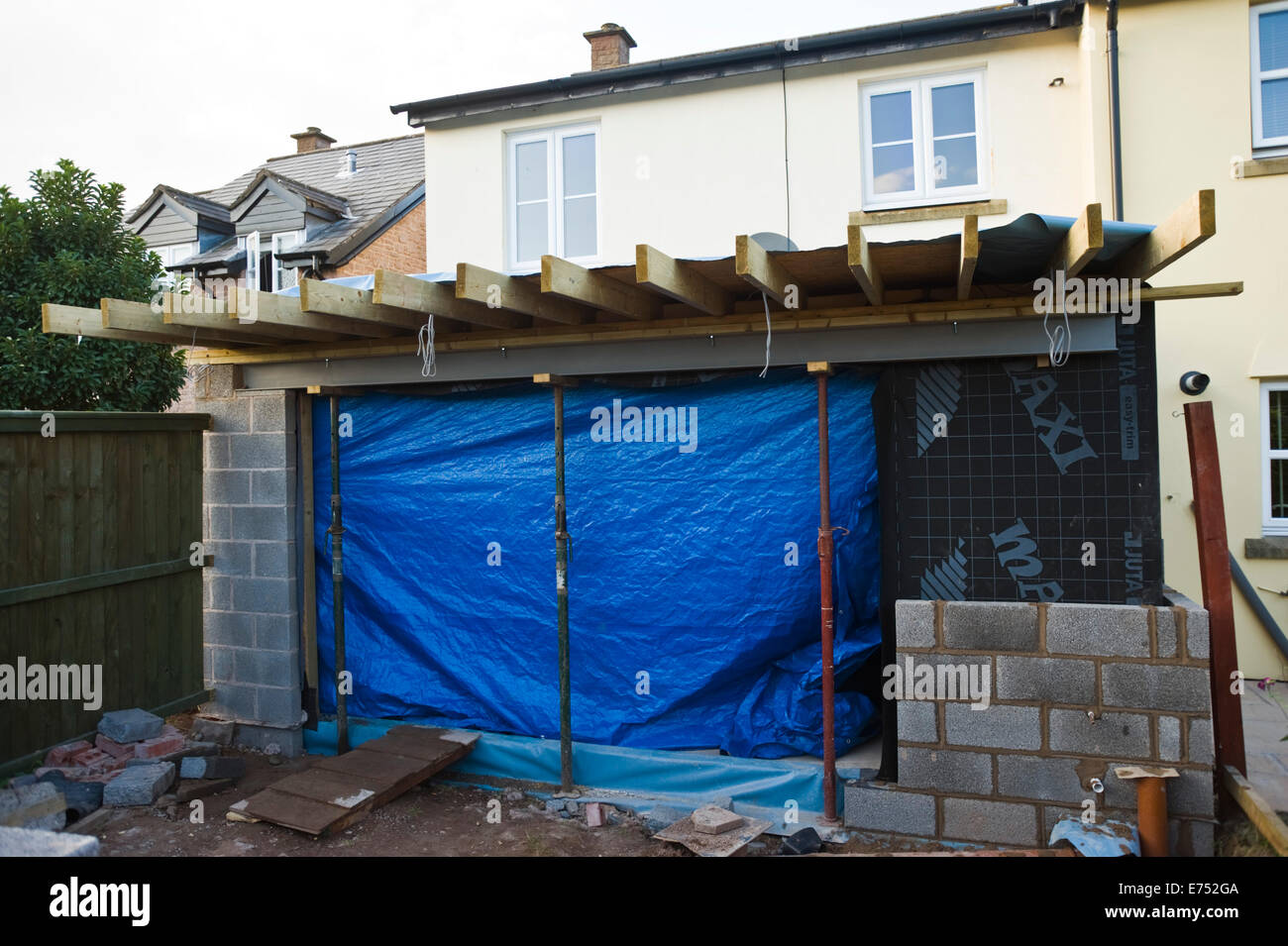 Block wall being built for house extension Hay-on-Wye Powys Wales UK - Stock Image