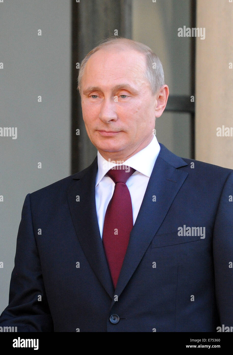 Portrait of Russian President Vladimir Putin, pictured during his official visit to France for the D-Day 2014 commemorations. - Stock Image