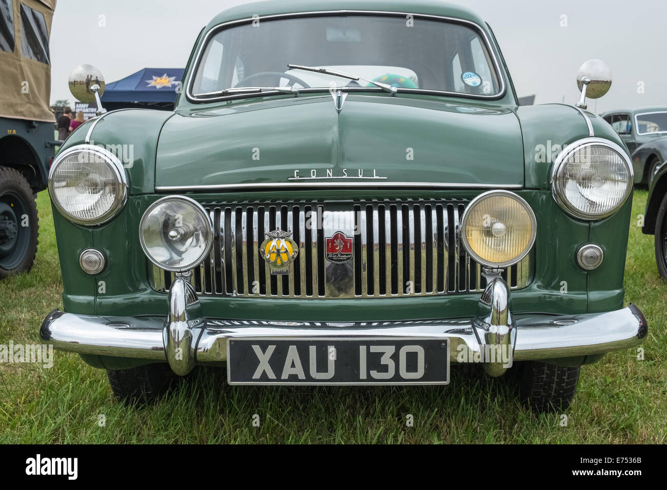 Front view of vintage Ford Consul Mark 1 motor car - Stock Image