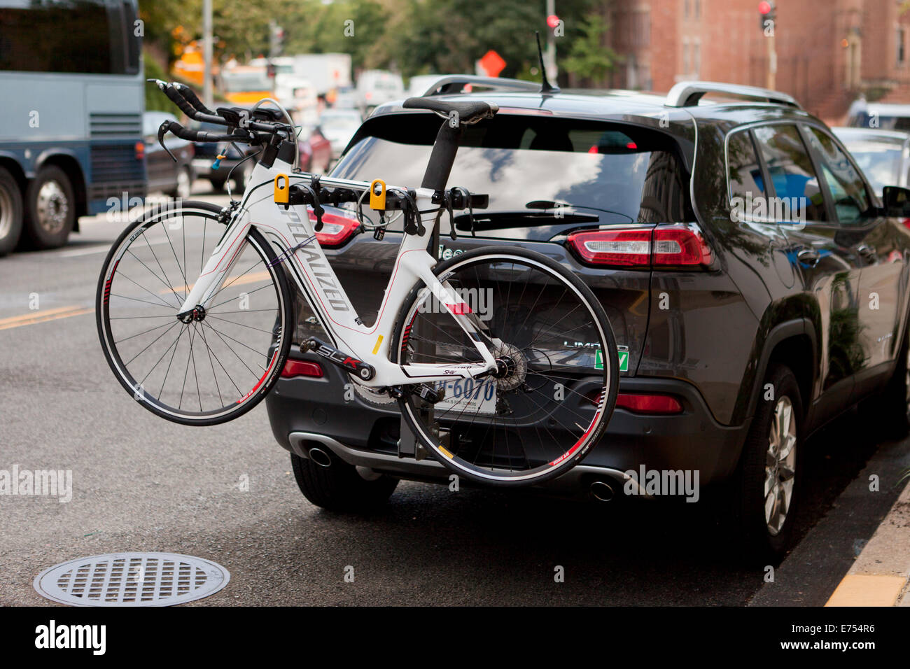 Bicycle on rear mounted bike rack - USA - Stock Image