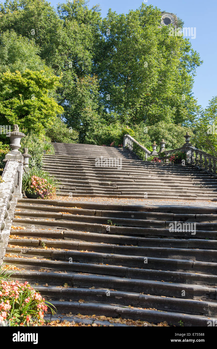 Majestic stone flight of stairs in a park - Stock Image