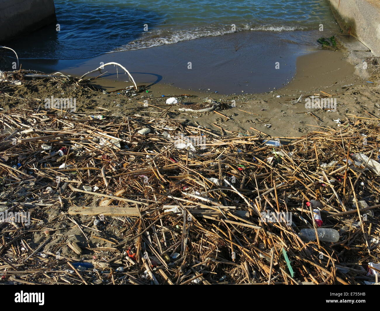 Polluted beach. - Stock Image