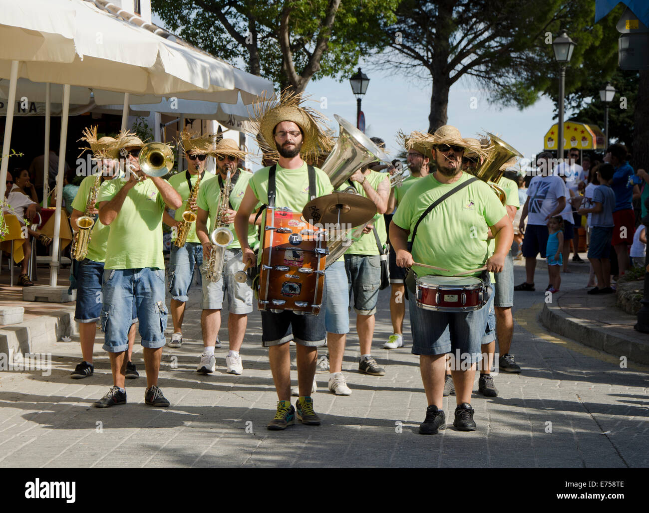Informal marching Sreet band during the Feria of Mijas in Southern Spain - Stock Image