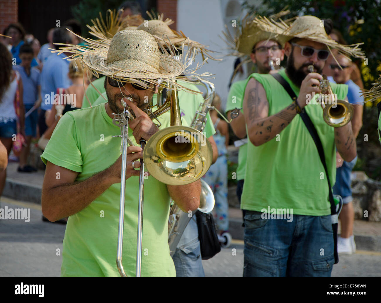 Informal marching Sreet band during the Feria of Mijas Pueblo in Southern Spain - Stock Image