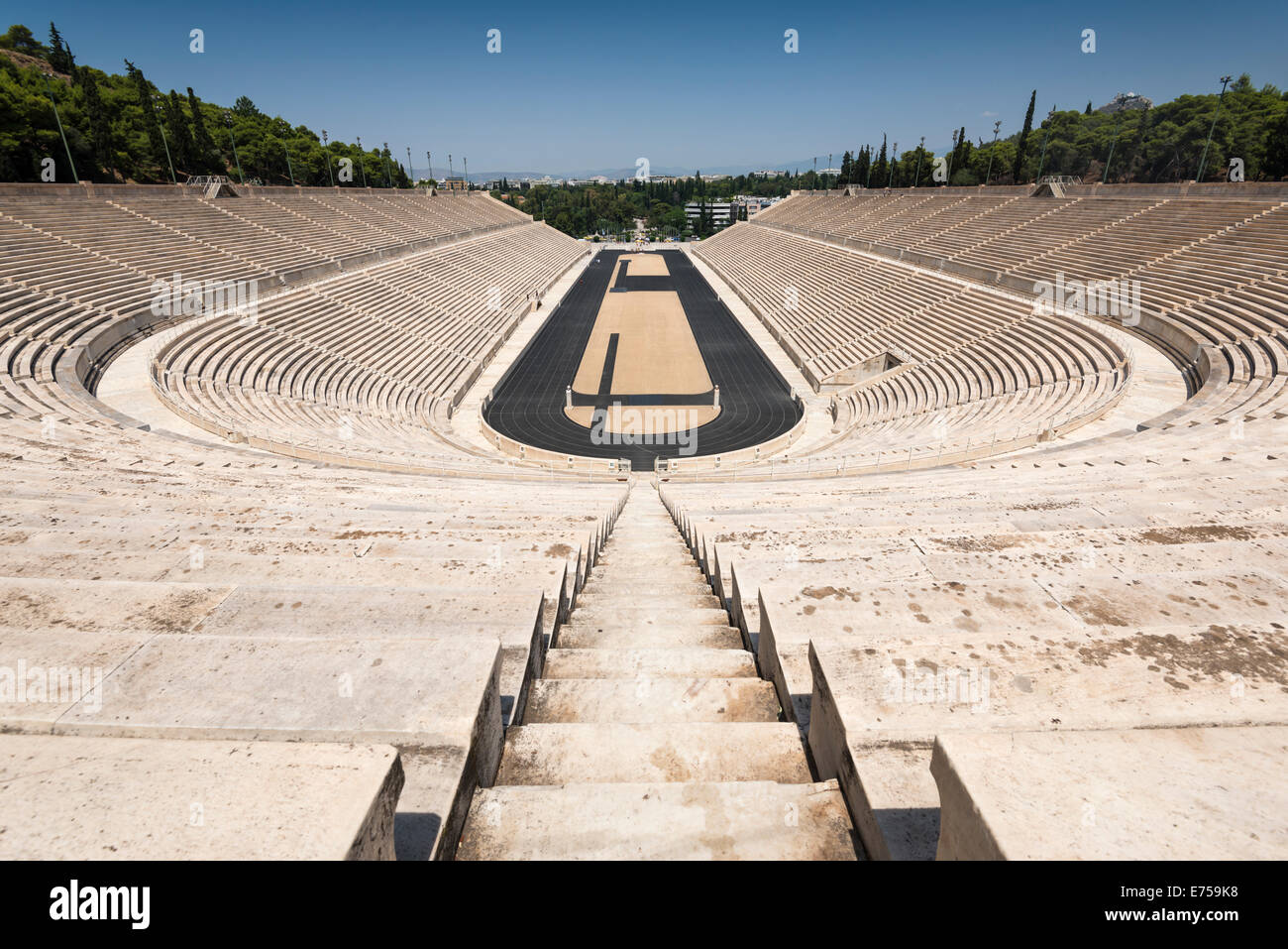 View from thetop of the Panathenaic Stadium in Athens, the location for the first modern Olympic Games Stock Photo