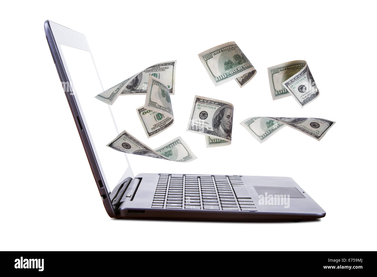 Finance and earning concept, one hundred dollar banknotes flying from laptop, internet, side view, isolated on white - Stock Image