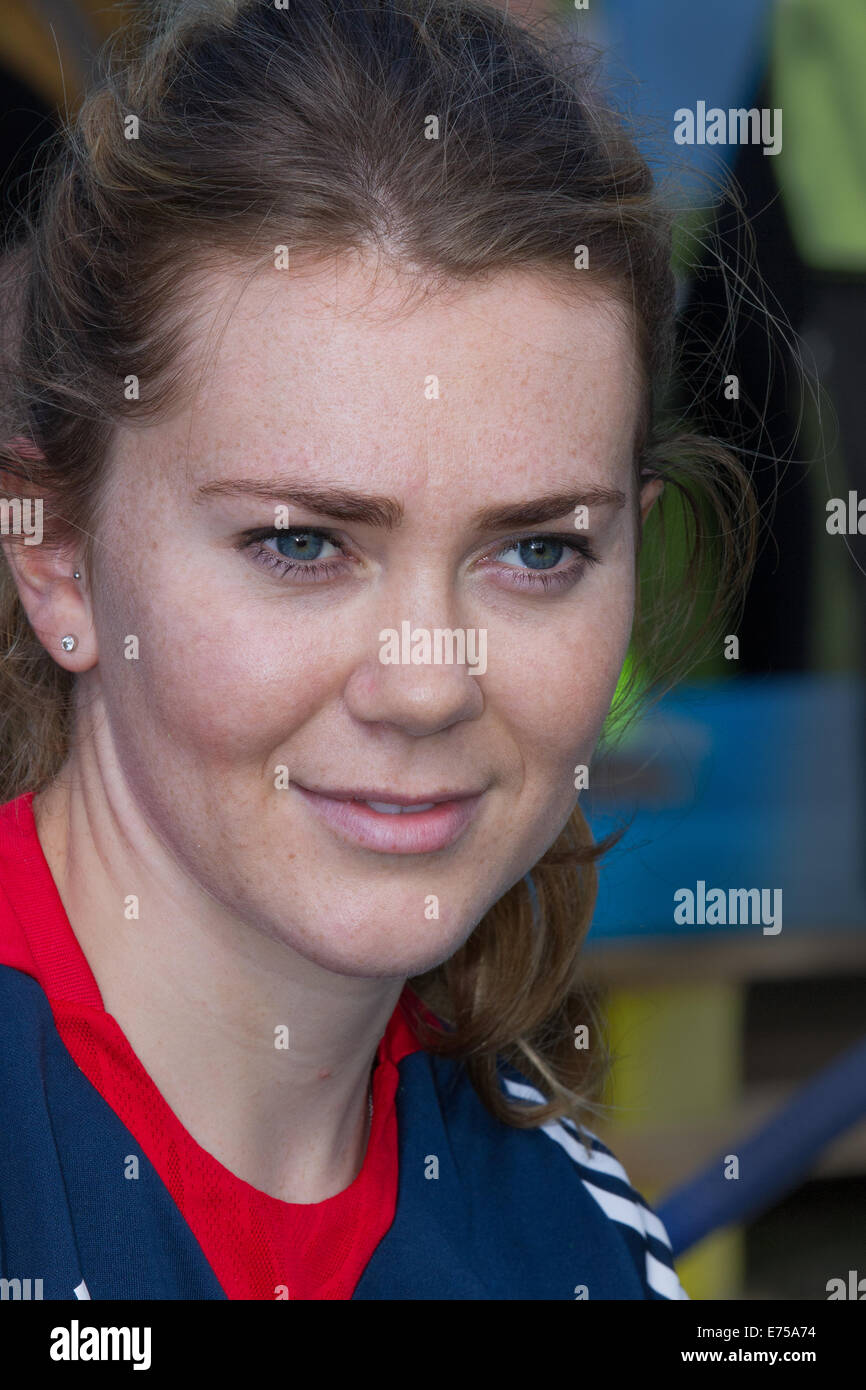Liverpool, Merseyside, UK 7th September, 2014. Jess Varnish at the Sky Ride event prior to the start of Tour of Stock Photo