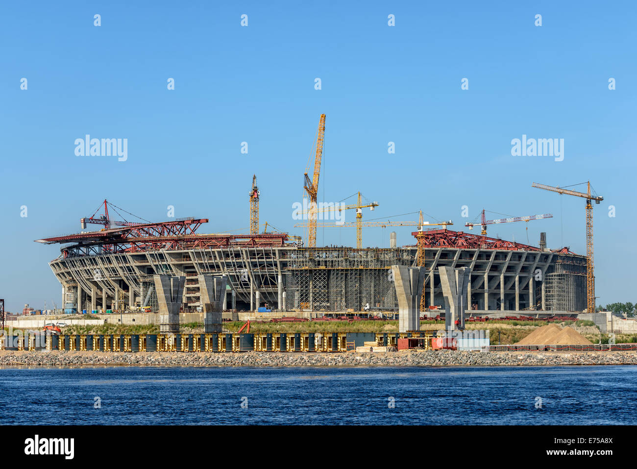 Construction of football arena in St. Petersburg. Russia - Stock Image