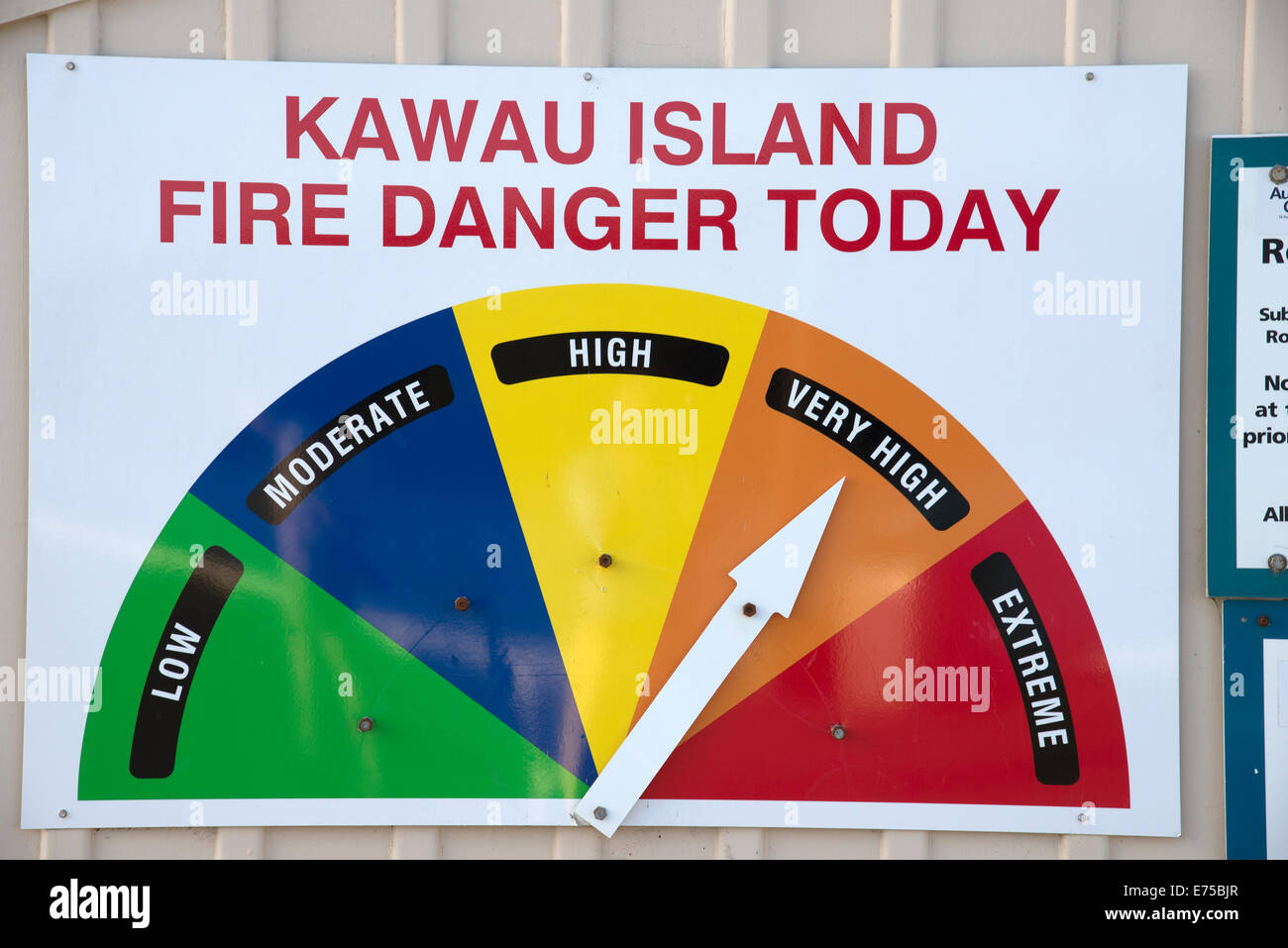Fire danger and risk indicator board for Kawau Island on the quay at Sandspit New Zealand - Stock Image
