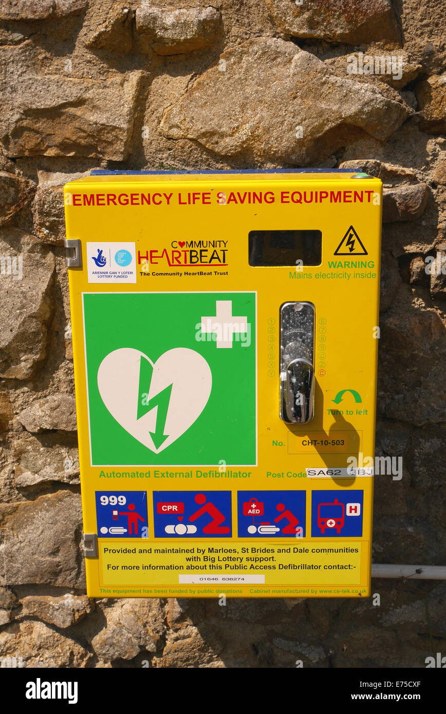 A defibrillator on a wall near Marloes, Pembrokeshire, West Wales, UK - Stock Image