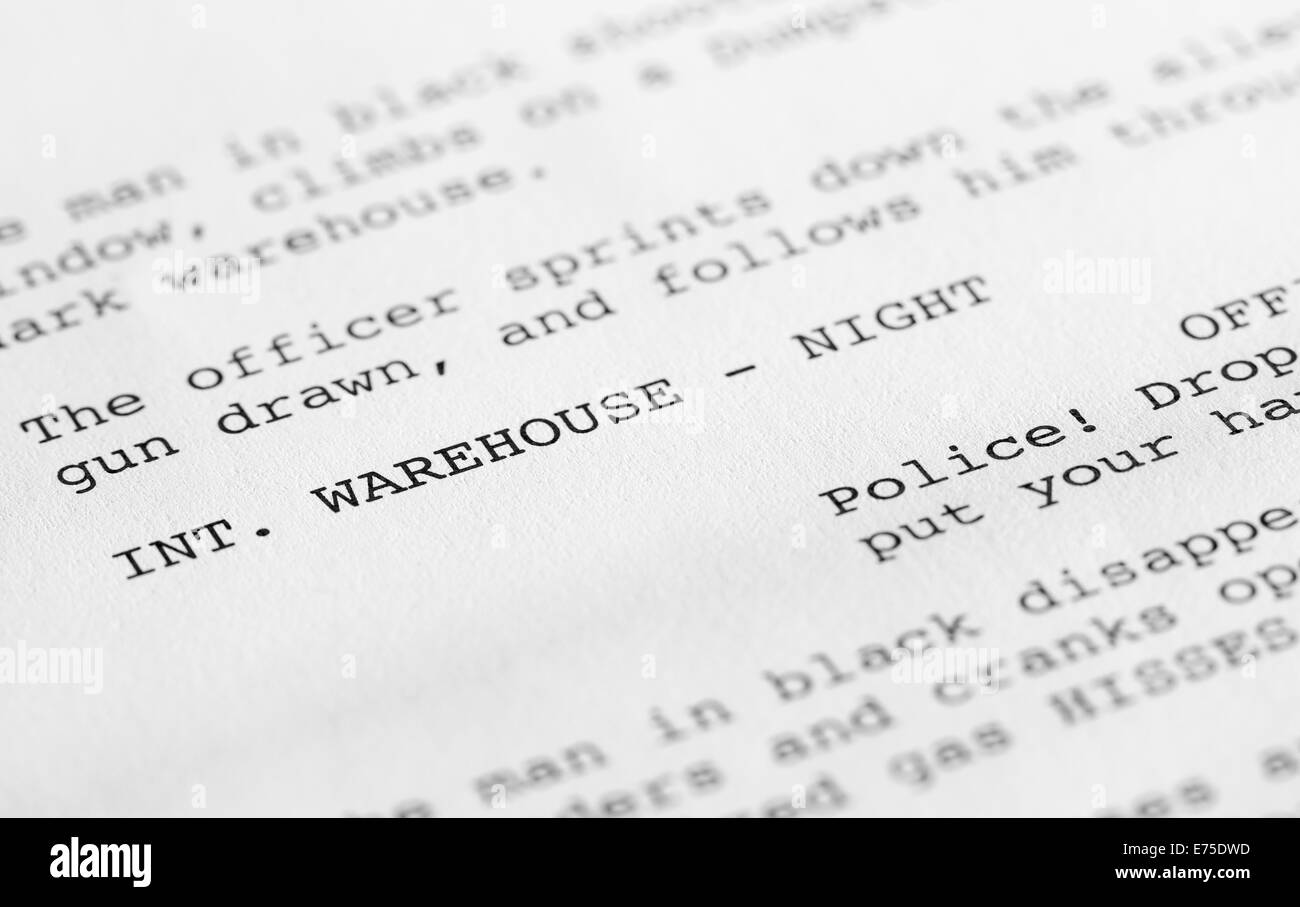 close up of a page from a screenplay or script in proper hollywood