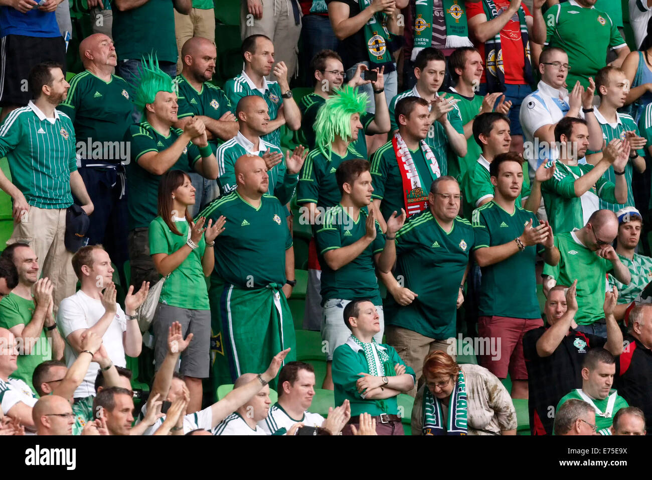 06889eb4167 Budapest, Hungary. 7th September, 2014. Northern Irish fans celebrate  during Hungary vs
