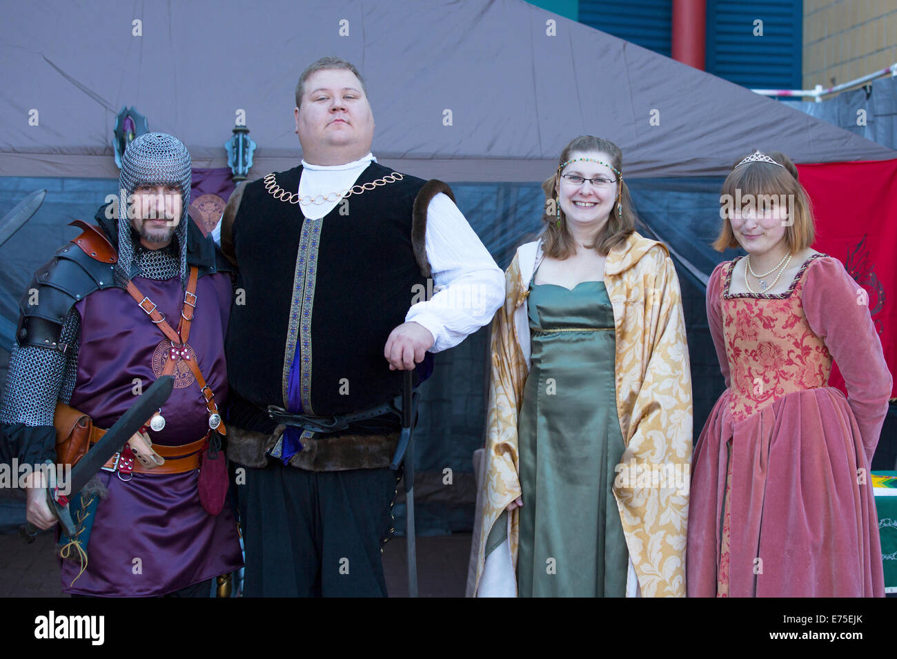 Calgary, Canada. 7th September, 2014.  Members of the live action role-playing group Alliance Alberta attend the - Stock Image