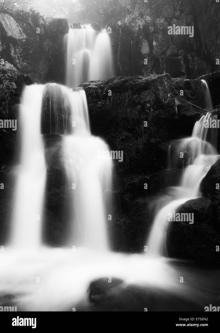 Black and white image  of Upper Doyle's River Falls on a spring day in Shenandoah National Park, Virginia. - Stock Image