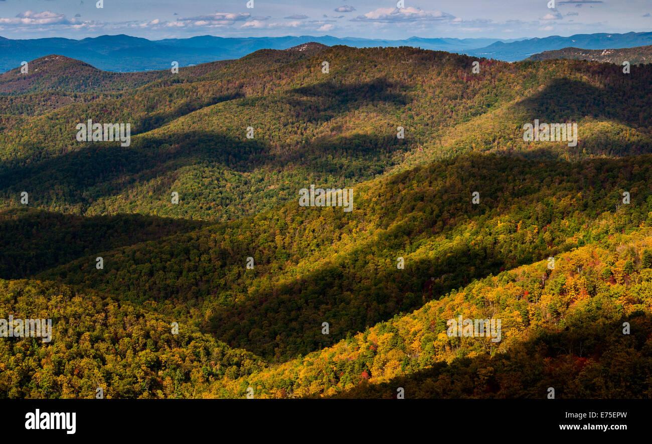 Cloud shadows on the Blue Ridge, seen from Blackrock Summit, along the Appalachian Trail in Shenandoah National - Stock Image