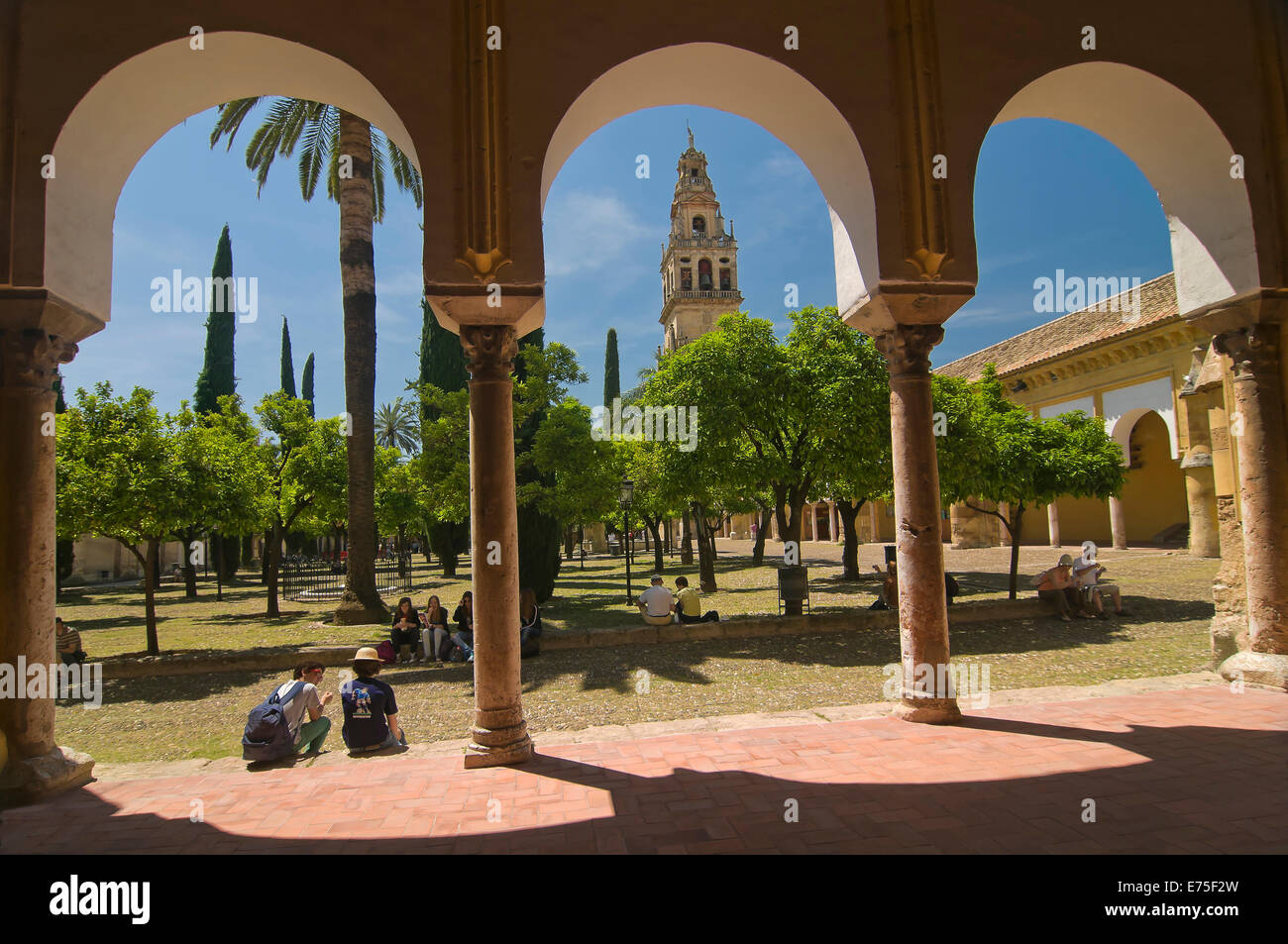 Great Mosque and Patio de los Naranjos, Cordoba, Region of Andalusia, Spain, Europe Stock Photo
