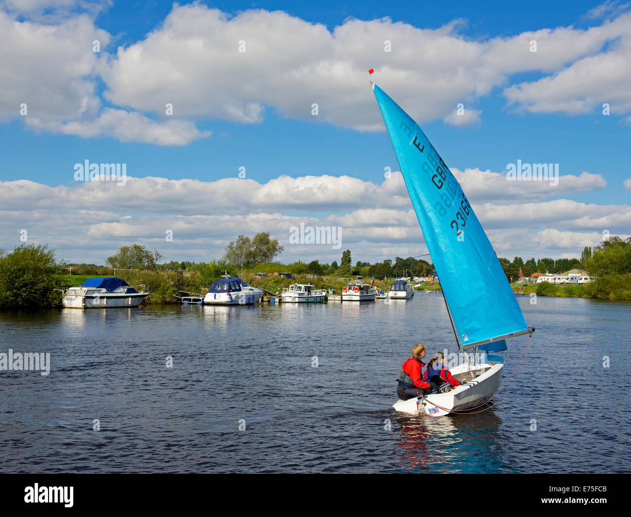 Sailing dinghy on the River Ouse at Naburn, near York, North Yorkshire, England UK - Stock Image