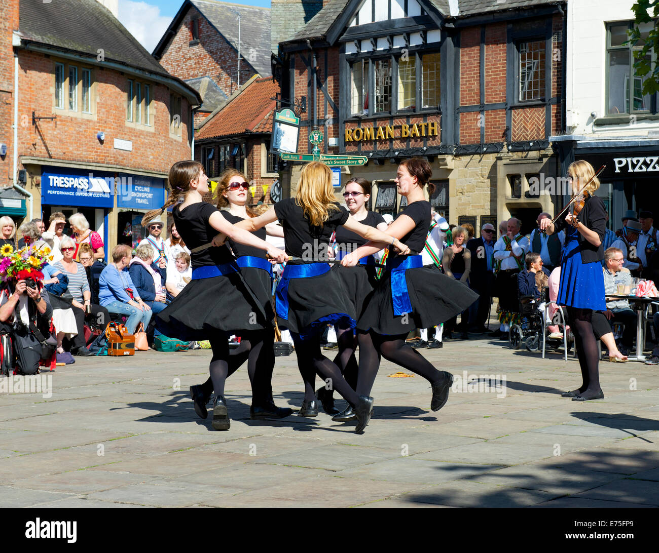 Folk dancers in York, North Yorkshire, England UK - Stock Image