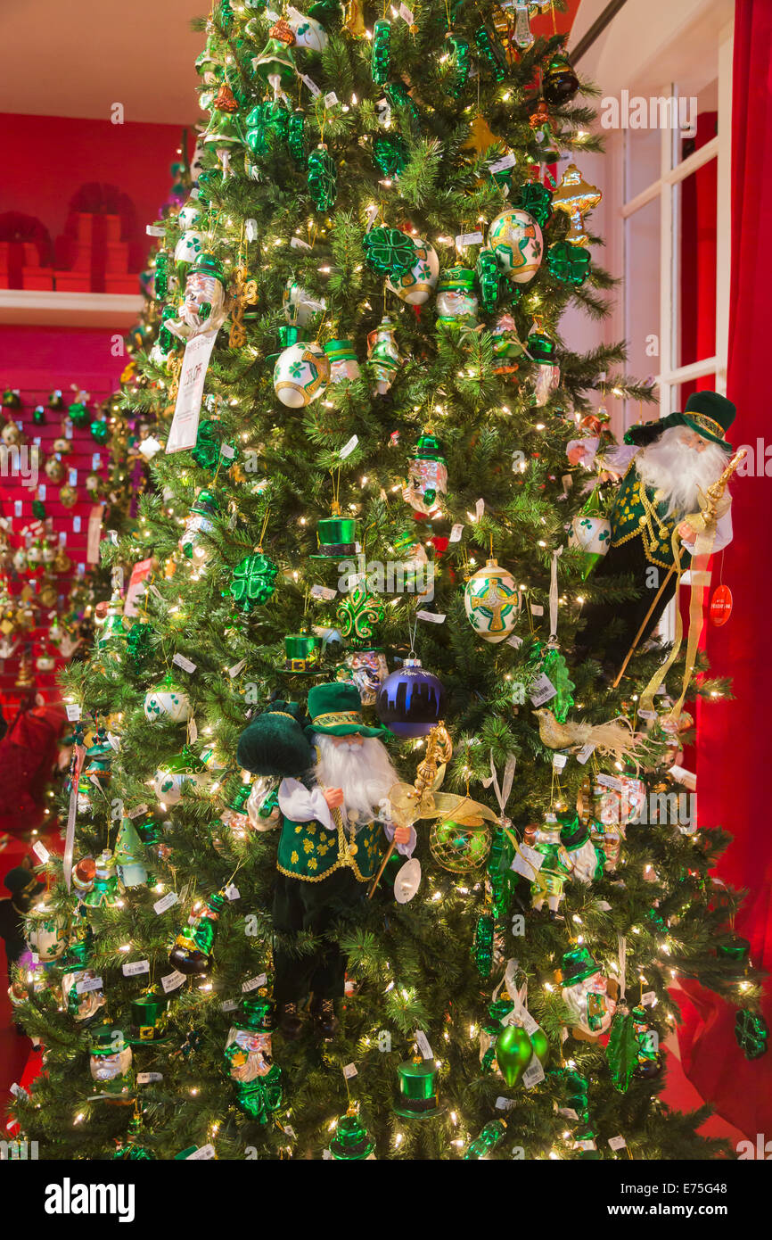 Festive green and gold Christmas decorations with an Irish theme on ...