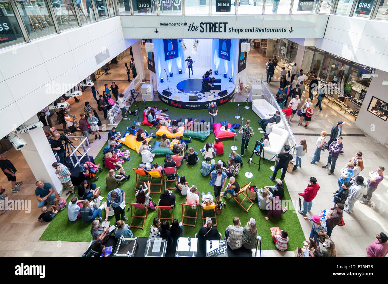 London, UK. 7th September, 2014.  Supported by the Mayor of London, The Grand Final of Gigs Big Busk, the UK's biggest street music competition, took place at Westfield, Stratford in front of huge audiences.    Pictured: view from the upper floor of the stage and audience. Credit:  Stephen Chung/Alamy Live News Stock Photo