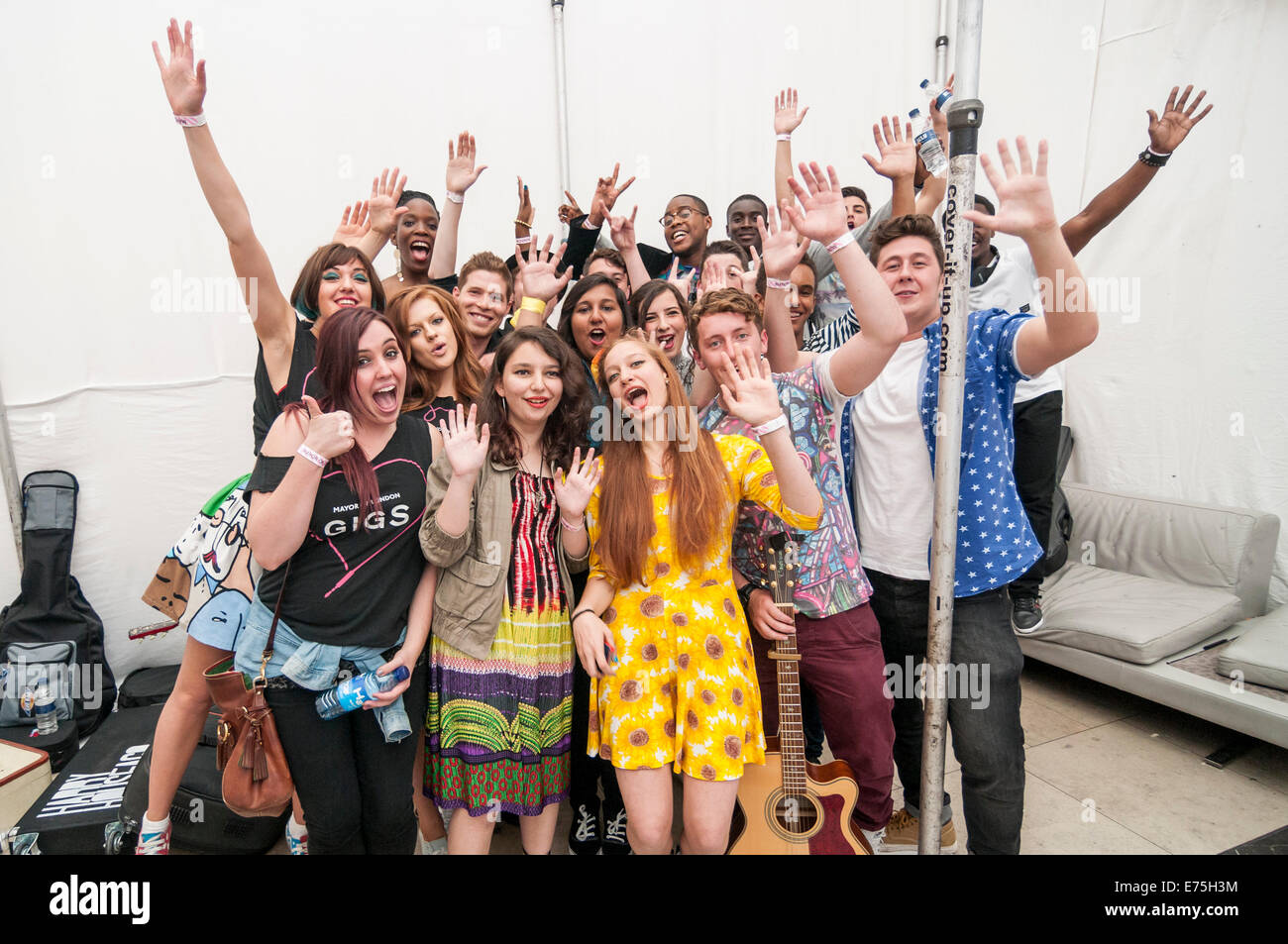 London, UK. 7th September, 2014.  Supported by the Mayor of London, The Grand Final of Gigs Big Busk, the UK's biggest street music competition, took place at Westfield, Stratford in front of huge audiences.  Pictured: backstage with the finalists. Credit:  Stephen Chung/Alamy Live News Stock Photo