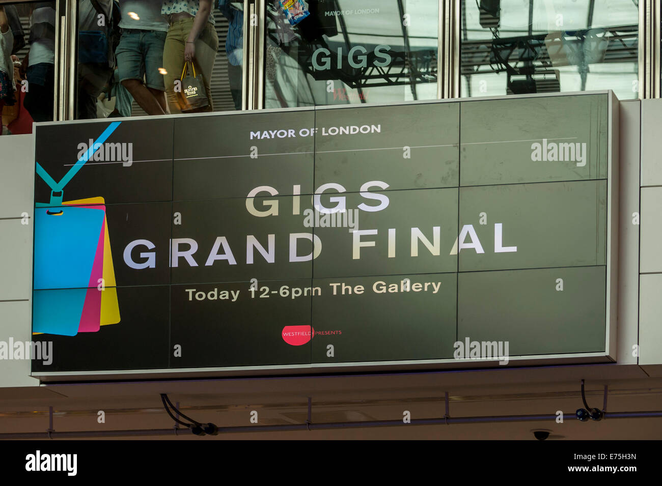 London, UK. 7th September, 2014.  Supported by the Mayor of London, The Grand Final of Gigs Big Busk, the UK's biggest street music competition, took place at Westfield, Stratford in front of huge audiences. Credit:  Stephen Chung/Alamy Live News Stock Photo