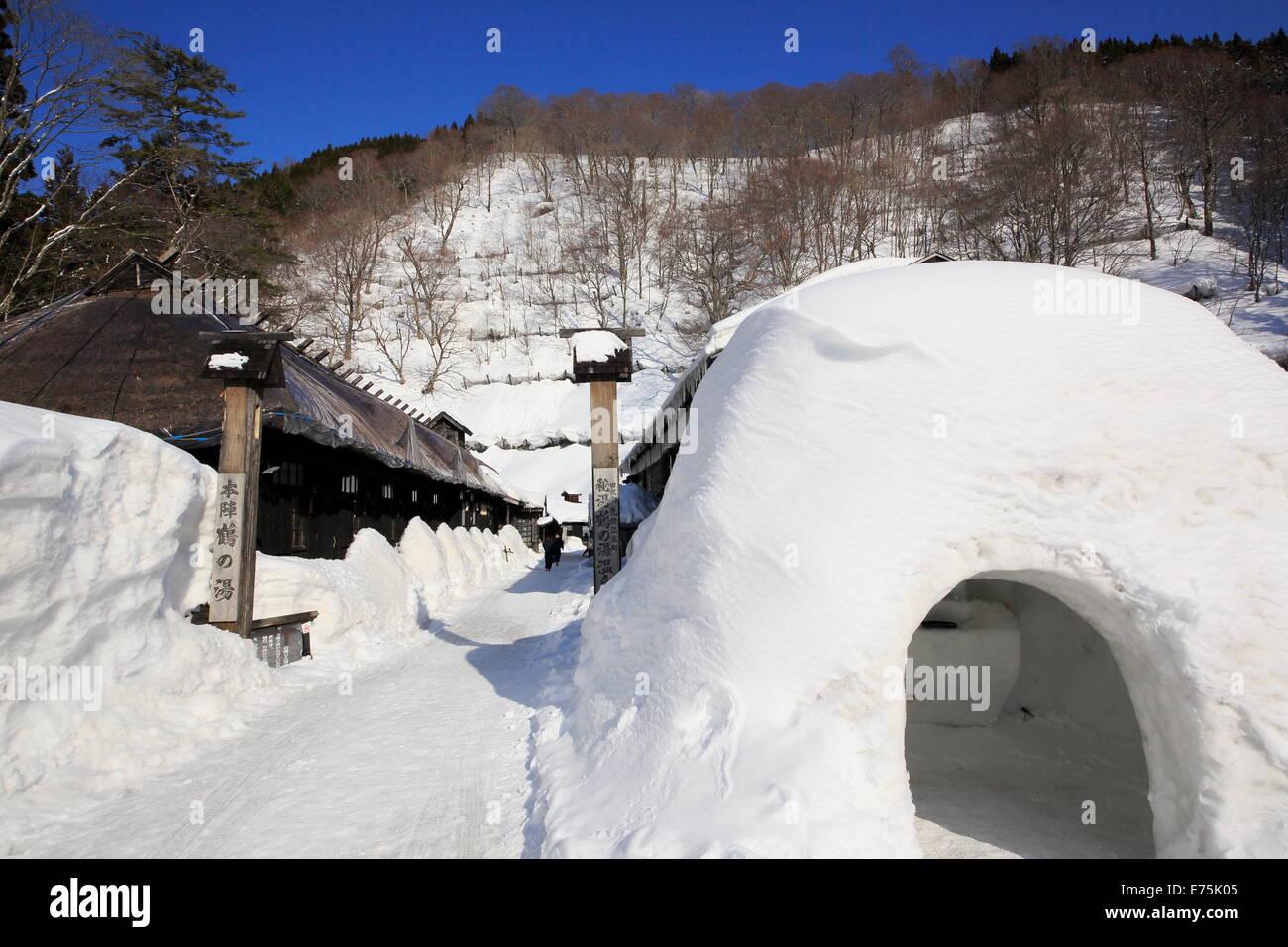 Season of winter Tsurunoyu hot spring - Stock Image