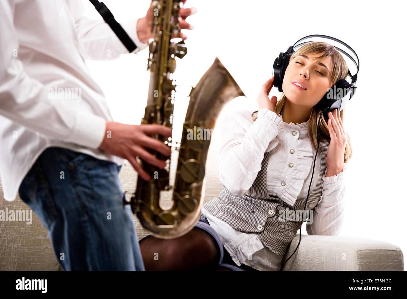 Girl Playing Sax Stock Photos  Girl Playing Sax Stock -8877