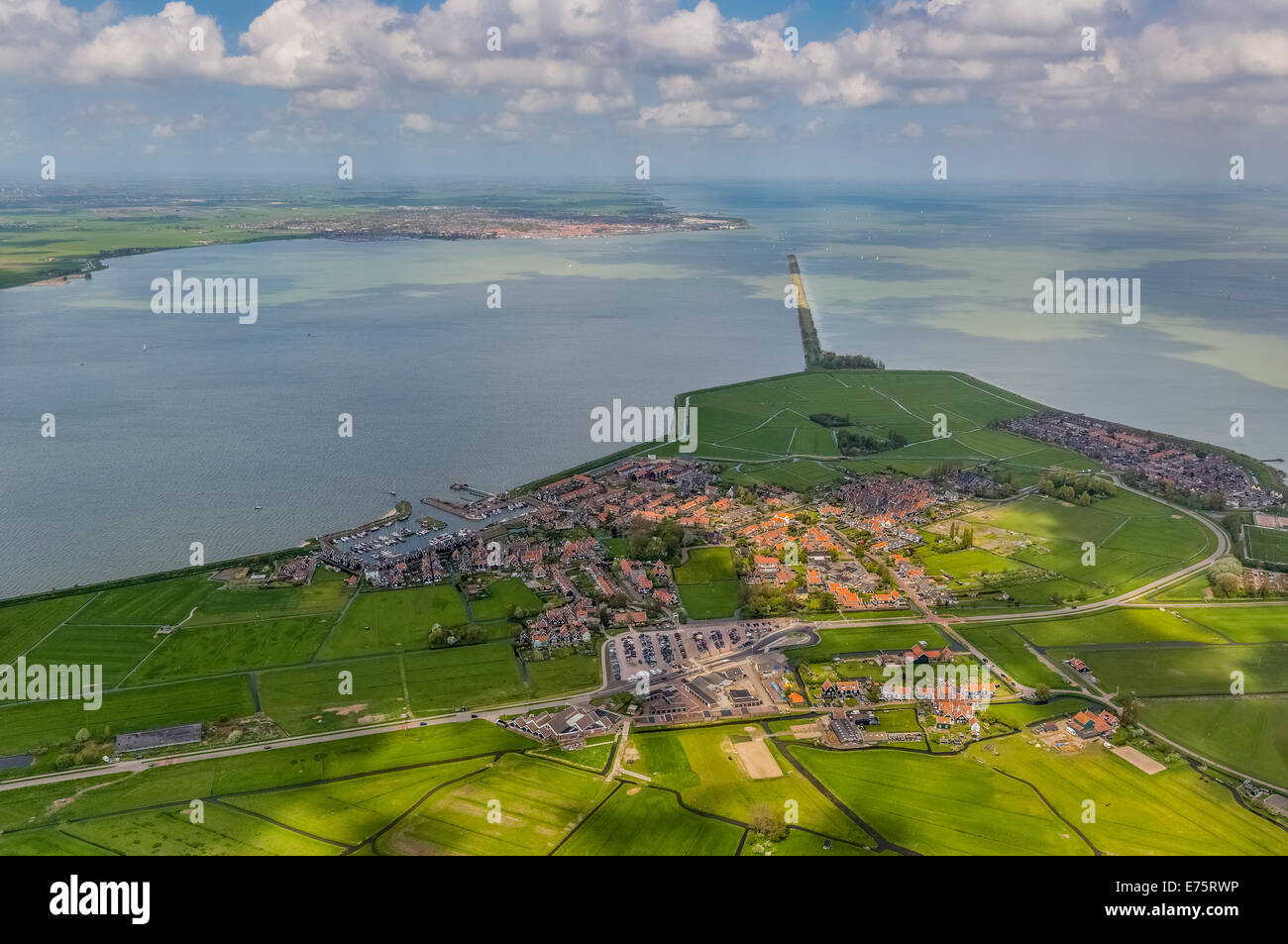 Aerial view, fishermen's houses on the island of Marken, Province of North-Holland, Netherlands - Stock Image