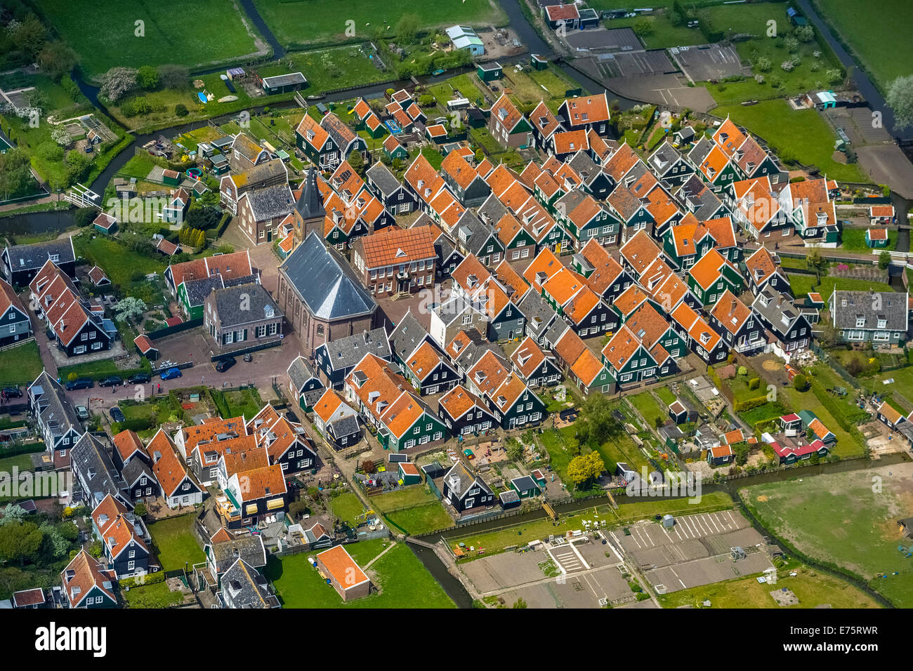 Aerial view, fishermen's houses on the Marken peninsula, Province of North-Holland, Netherlands - Stock Image